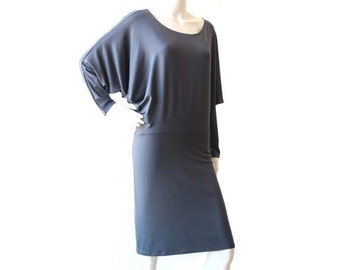 Dolman sleeve dress, Day dress, Grey dress, Long sleeve dress, Straight skirt, Knee length dress, Batwing dress, Plus size dress, Dress