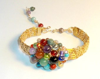 Gold Wire Woven Bracelet,Gold Wire Multicolor Bead Bracelet,Beaded Gold Wire Wrap Bracelet,Gold Wire Wrap Bracelet,Gold Wire Beaded Bracelet