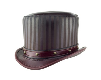 """Leather Top Hat """"Baron"""" in Oxblood - Stovepipe Hat - Steampunk Hat - Circus Hat - Steampunk Top Hat - Circus Costume - Steampunk Dome Stud"""