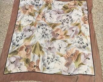 1990's Adrienne Vittadini Silk Scarf with Floral Design