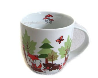 Mug, kids Cup, drinking cup-coffee cup-woodland-resin