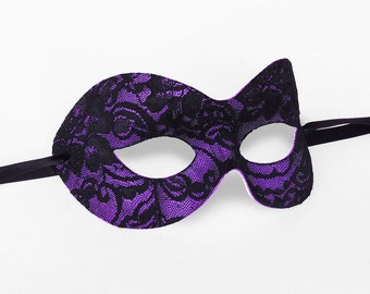 Black & Purple Lace Masquerade Mask - Lace Covered Venetian Style Masquerade Ball Mask