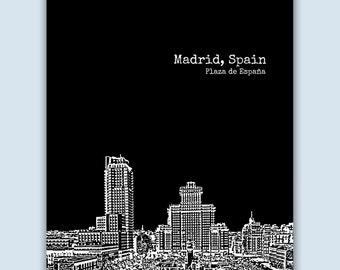 Madrid Print, Madrid Wall Art, Madrid Skyline, Wedding Gift, Madrid Art Print,  Madrid Spain Art,  Madrid Poster,  Madrid Decor