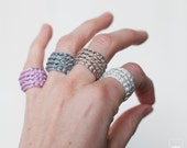 Bridesmaid gift. Crochet ring. Gifts for Bachelorette Party. Choose your color.  Lightweight and adaptable to the finger. Wool Ring. Fiber.