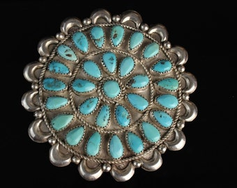 """HUGE 3""""+ Navajo Pin Real Turquoise Serling Silver Native jewelry"""
