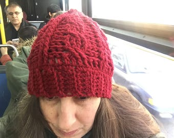 Red Cozy Cable Crochet Hat