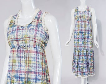 70s Denise Are Here! floral plaid sleeveless midi dress | size extra small