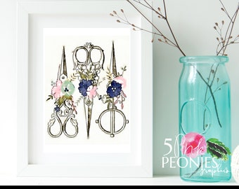 Floral Watercolor Scissors - Hairstylist - Beautician - Barber - Hairdresser - Gift