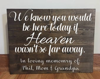If Heaven Wasn't So Far Away Sign//Memorial Sign//Wood sign//Rustic Wedding Memorial Sign//Wedding Sign//Loved Ones Sign//Wedding Decor//