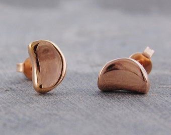 Earrings, Rose Gold Earrings, Stud Earrings, Gold Studs, Simple Earrings, Everyday Earrings, Gold Earrings, Tiny Stud Earrings, Bean