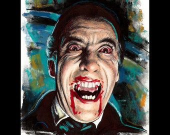 "Print 11x14"" - Dracula - Christopher Lee Horror Dark Art Vampire Peter Cushing 50s Gothic Halloween Classic Monster Blood British Lowbrow"