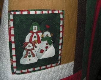 Snowmen Handquilted Lapquilt