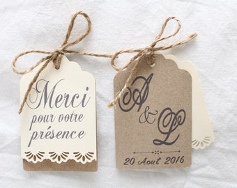 Customizable Save the Date tag / thank you vintage kraft wedding lace