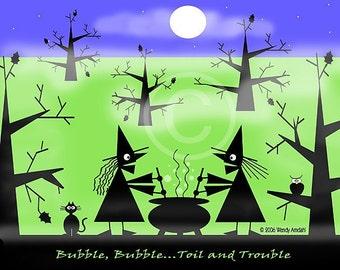 Halloween Art, Halloween, Illustration, Digital, Green, Blue, Black, 2 Witches, Woods, Moon, Cauldron, 8x10