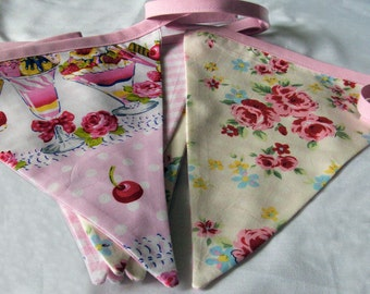 Party Bunting, Ice Cream Sundae, Fabric Bunting Banner, floral, gingham baby pink bias binding, for house, garden, party and festivities