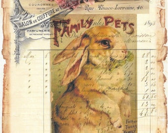 Rabbit*Bunny *Family pet*Book cover*Tuck*French ledger collage with spectacular roses*Quilt art fabric block*Quilts,Pillows,Sachets,Frame