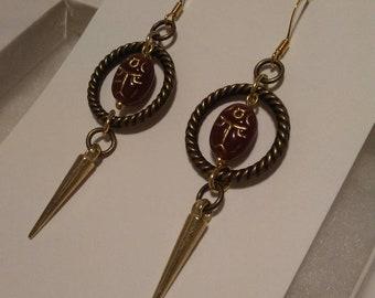 Scarab beetle earrings, Scarab earrings, Egyptian Scarab beetle, Egyptian earrings, Scarabs, Egypt, hypoallergenic earrings