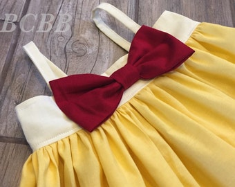 Princess Belle Dress, Belle Colors,  Toddler Dress, Halloween Costume, Dress Up, Princess Play Dress Red Blue Yellow Any Princess