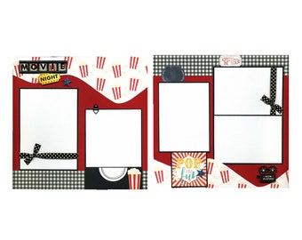 Movie Night - Premade Scrapbook Page Set