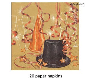 black and gold party napkins, celebration decorations, top hat, streamers, paper tableware, disposable, tablesetting, tablescape
