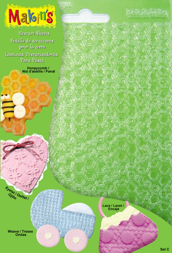 Makins Set C this set of 4 makins texture mats, for polymer clay and fondant textures include textures like  honeycomb, weave, eyelet, lace