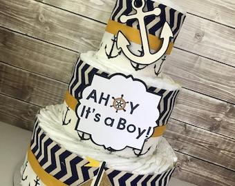 AHOY It's a Boy Diaper Cake, Nautical Theme Baby Shower Centerpiece