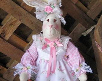 Shabby Chic Bunny, Country Bunny, Victorian Bunny, Easter Decor Bunny, Handmade Fabric Bunny, Fabric Bunny Doll, Pink Bunny