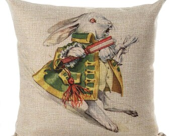 Alice in Wonderland Follow the White Rabbit Pillow Cushion Throw Pillow Cover  Beige Couch Bed Pillows Cushion Cover Decorative Throw Pillow