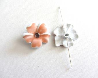Small flower salmon beads porcelain