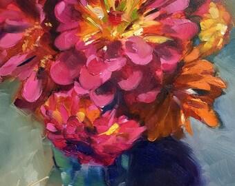zinnia // zinnias // zinnia art // zinnia painting // flower art // flower painting // original art // flower bouquet art // original art