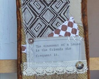 Brown Doorknob Hanging Art Quilt - Friends