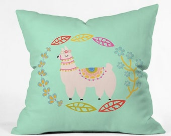 Llama Floral Leafy Mint Decorative Throw Pillow, Cute Kids Bedroom Decor, Whimsical Floral Spring Living Room Decor, Mothers Day Gift Idea