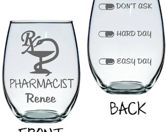 Pharmacist Wine Glass with Levels FREE Personalization