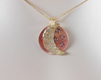 Sun and Moon Pendant, Celestial,  Copper and Brass Pendant