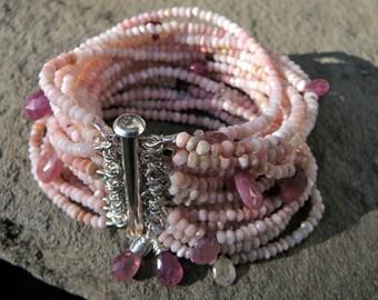 Pink Opal Bracelet,Pink Peruvian Opal Bracelet,Pink Sapphire Bracelet,Multi Strand Opal Bracelet,Sapphire Briolette Bracelet,Gemstone Cuff