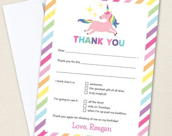 Unicorn Party Thank You Cards - Professionally printed *or* DIY printable
