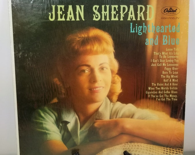 Vintage Vinyl Record Jean Shepard 'Lighthearted and Blue' Stereo LP Album - Genuine Original - Shrink Wrapped Cool Sleeve - Excellent!