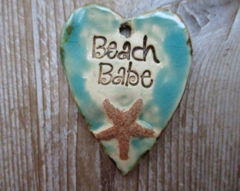 Beach Babe Pendant Use as an Essential Oil Diffuser Pendant