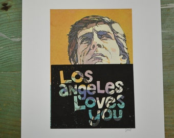 Los Angeles Loves You - Determination - Linocut - Book Page Art - Hand-pulled - Reclaimed - Repurposed