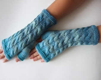 Handmade light blue ( multicolor ) fingerless gloves, wrist warmers, fingerless mittens. Knitted of 100 % wool.