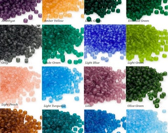Dyna-Mites™ glass seed beads #6 transparent matte colors 40 grams, 40 grams Dyna-Mites™ #6 transparent matte colors  glass seed beads