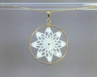 Tavita doily necklace, white silk thread, 14K gold-filled