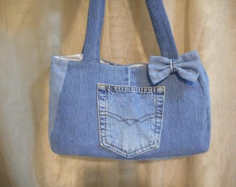 Up Cycled Denim Pocket/ Bow  Lined Handbag  Style 2 Ready To Ship Clearance