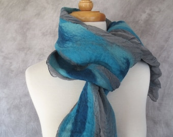 Nuno Felted Scarf Felted Wool and Silk Scarf Gray with Turquoise Teal Stripes