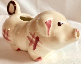 Midcentury Hand Painted Bisque Pig Creamer
