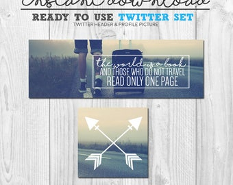 ready to use twitter cover image set, premade social media page graphics, pre-made twitter cover banner avatar photo, instant download set