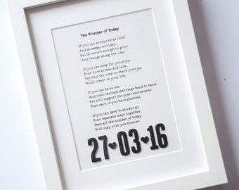 Framed song lyrics, with 3d date, framed wording, wedding vows, first dance lyrics, reading, poem, anniversary gift, wedding gift