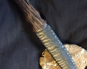 Flint knapped dagger- Dacite and wenge- Orc Blade- Throne knife
