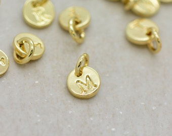 1 - Initial Charm 24K GOLD Plated 6mm Round Disc Letter Stamped Monogram Letter Alphabet Charm Small Minimal Personalized Jewelry Supplies