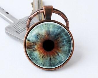 Keychain eye Eyeball keyring Eye jewelry Eye pendant Eye key ring Human eye keychain Eyeball key chain Eyeball jewelry Gift for her for him